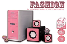 PC FASHION D2623 Core2Duo E8200 2.66Ghz/2GB RAM/HDD 320GB/MAST. DVD±RW/LETT DVD/GMA 3100 256MB/W-CAM 1.3 PINK/CASSE 2.1 PINK/TASTIERA FLEX PINK/NO S.O.